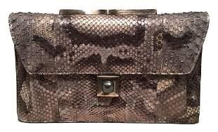 Judith Leiber Silver Grey Snakeskin Python Three way