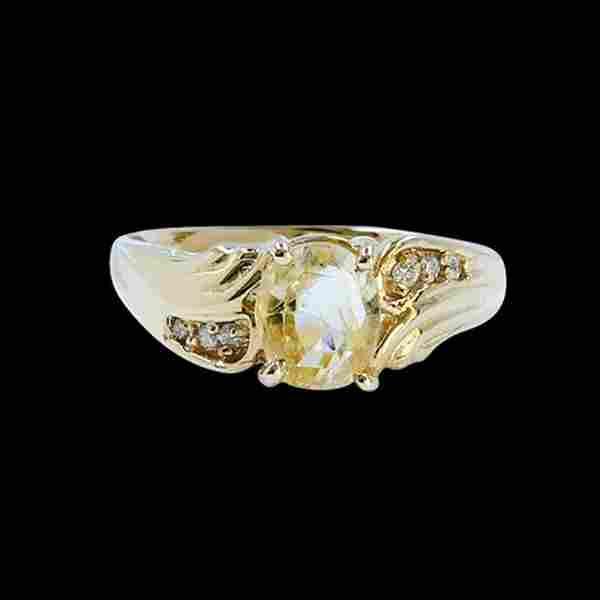 1.44CT NATURAL CEYLON SAPPHIRE 14K Yellow Gold Ring (NO