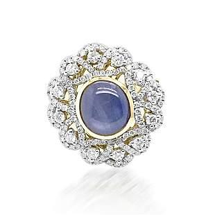 3.35ct Natural Ceylon Star Sapphire 18K Yellow Gold