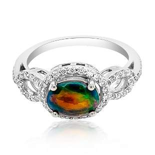 0.65ct Natural OPAL 14K White Gold 3.18gm Ring
