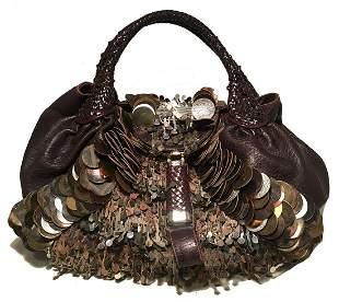 Fendi Borsa Spy Bag in Brown Leather fringe and Zucca