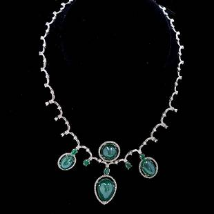 51ct NATURAL Emerald 14K White Gold Necklace