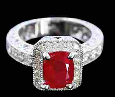 2.74ct NATURAL Ruby 14K White Gold Ring
