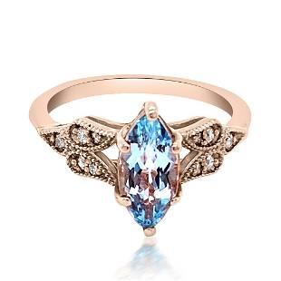 1.45ct Natural AQUAMARINE 14K Rose Gold 3.5gm Ring