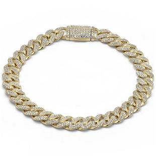 9MM 3.9ct Diamond Micro Pave Iced Out Round Cuban Link
