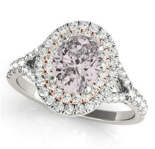 GIA 1ct Natural Pink Diamond 18K White Gold Ring