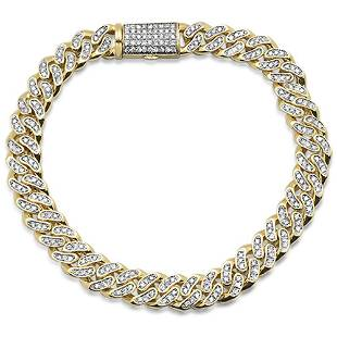 9mm 3.02ct Micro Pave Curb Link 14kt Yellow Gold 38.3gm