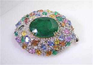 32ct Natural Emerald 18K White Gold Pendant / Brooch