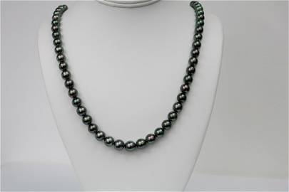 8-10mm Tahitian Peacock Green Near Round Necklace with