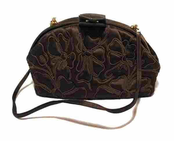 Judith Leiber Brown Silk Embroidered Vintage Pouchette