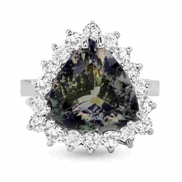 5.46ct Trillion Green Tourmaline & Diamond Ring