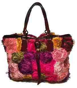 Valentino Multicolor Silk Rosier Rosettes Tote Bag