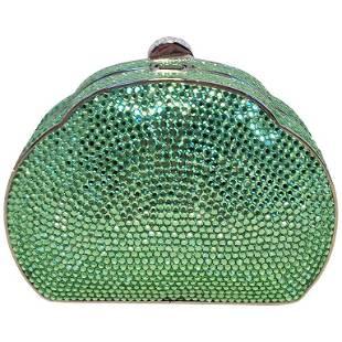 Judith Leiber Green Swarovski Crystal Minaudiere