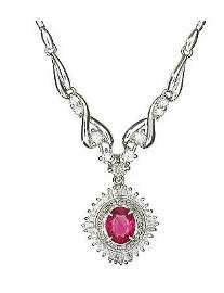GIA Certified Oval Ruby Platinum Pendant