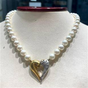6.5-7mm akoya pearl strand with a 14k heart pendant
