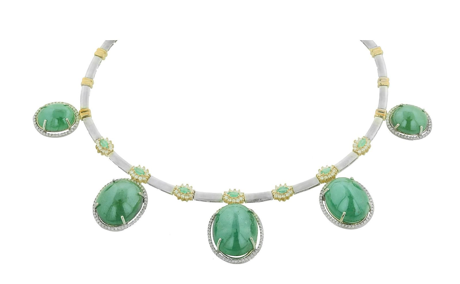 GIA 165.43CT Natural Emerald 14k White And Yellow gold