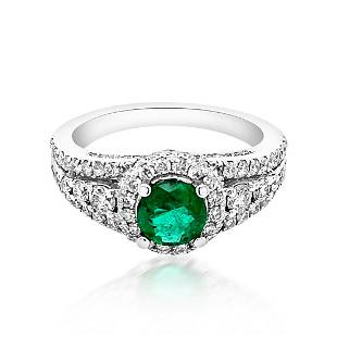 0.61ct Natural Emerald 14K White Gold 5.2gm Ring
