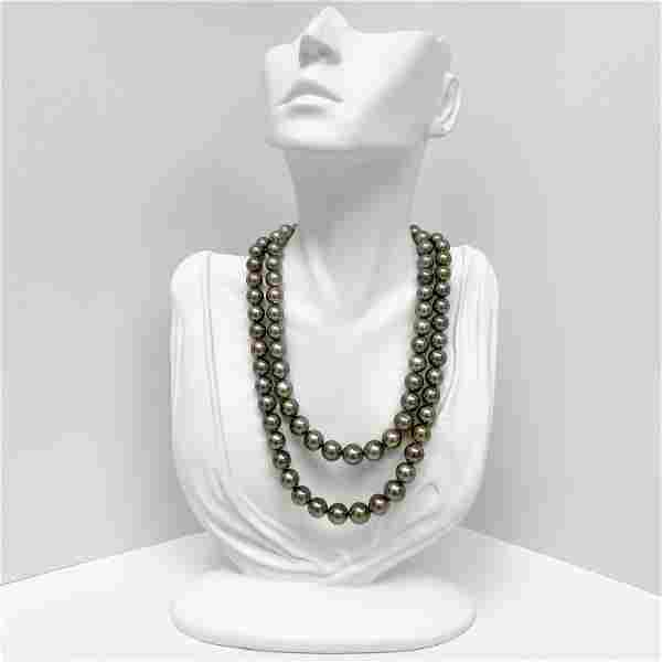 8-10mm Tahitian Silver Green Near-Round Double-Strand