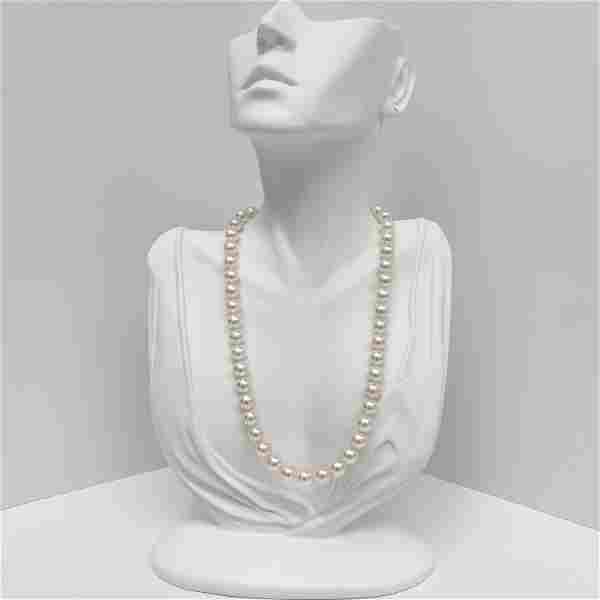 7-9mm South Sea White Round Pearl Necklace with Gold