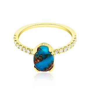 1.16ct Natural Turquoise 14K Yellow Gold 1.8gm Ring
