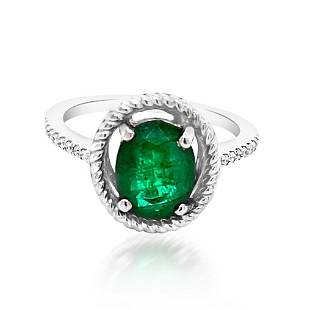 1.77ct Natural Emerald 14K White Gold 2.99gm Ring