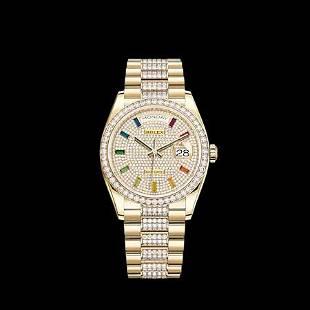 Rolex New 36MM Day Date YG with Diamond Bezel Model