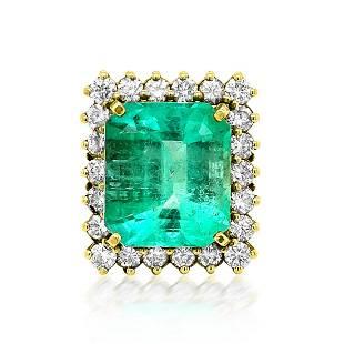 15.61ct Natural Emerald 14K Yellow Gold 17gm Ring