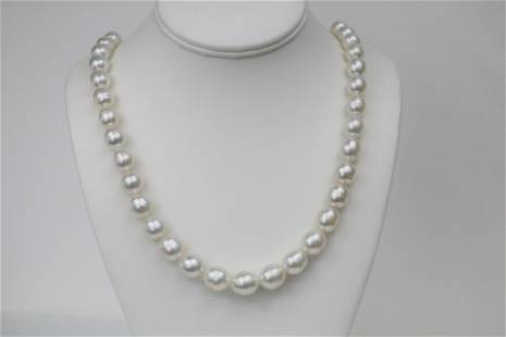 10-12mm South Sea Oval Necklace with Gold Clasp