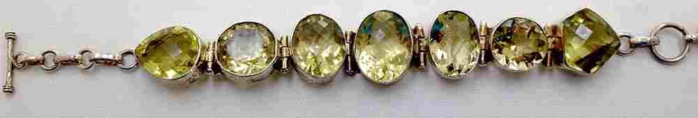 Sterling Silver 925 Vintage Yellow Quartz Bracelet