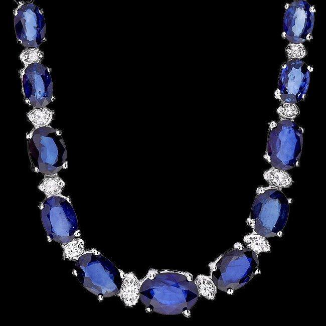 14k Gold 30.01ct Sapphire 1.21ct Diamond Necklace