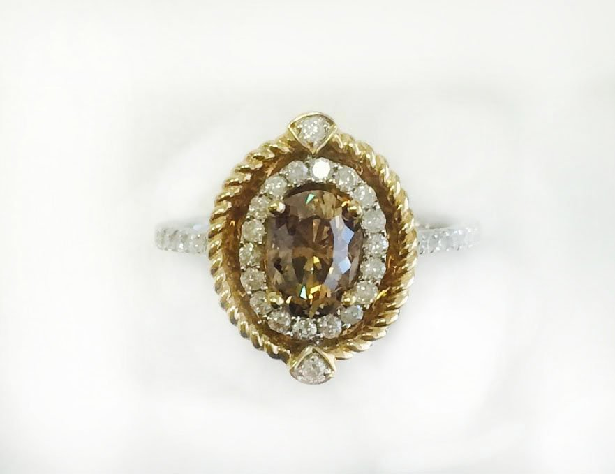 CHOCOLATE DIAMOND 0.94CT, 14K W/Y/G RING 3.10GRAM /