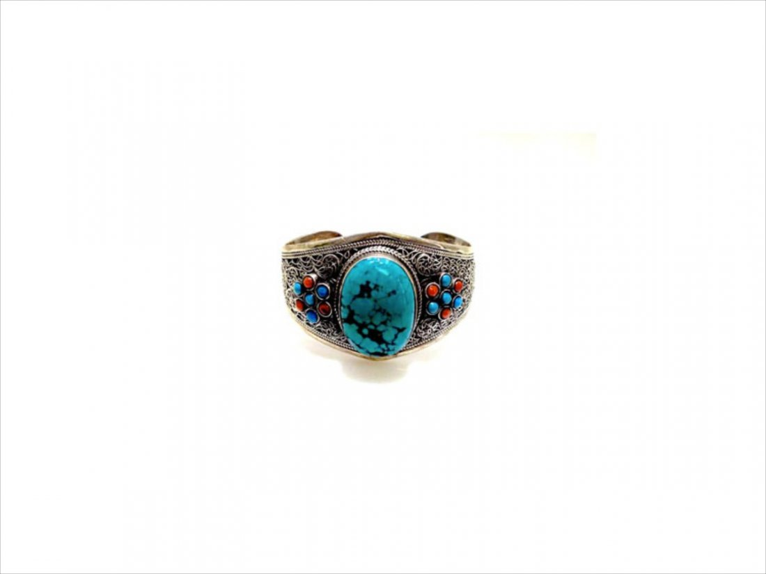 Sterling Silver .925 Turquoise w/ Red Coral Cuff Bangle