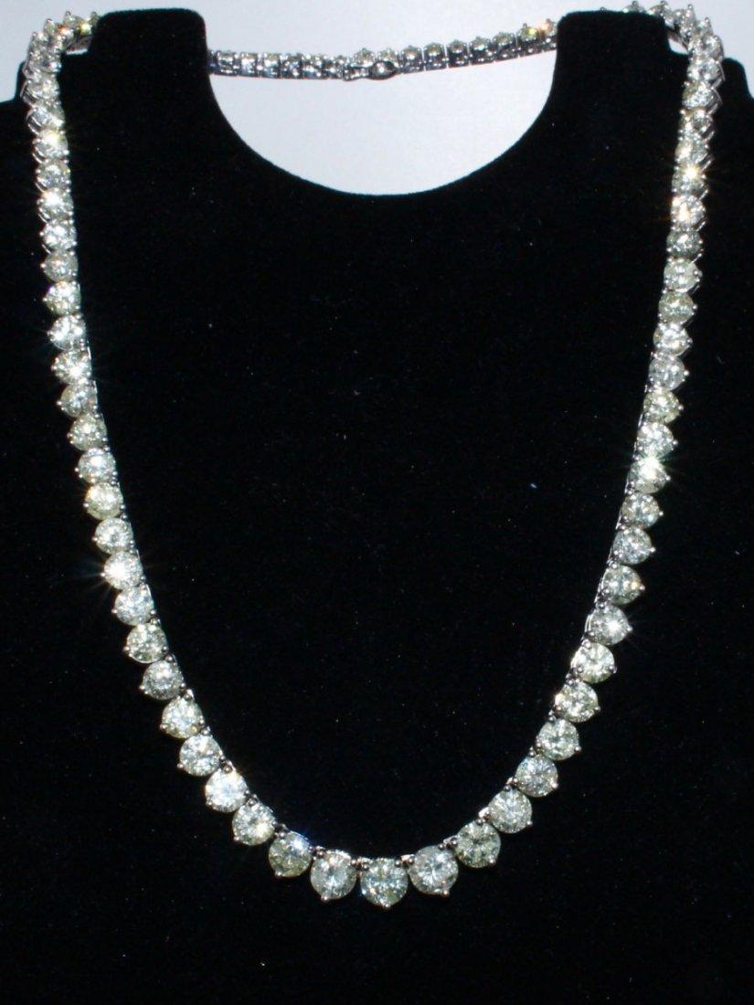 Diamond Tennis Necklace 14k White Gold, over 38.00 ctw