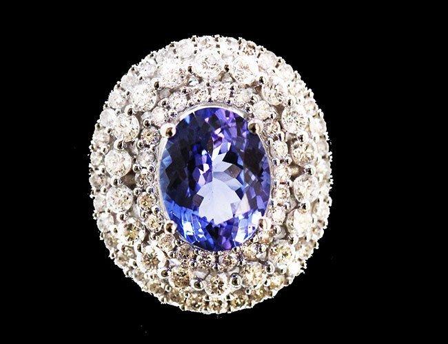 Tanzanite  2.98 ctw Diamond Ring 14KW