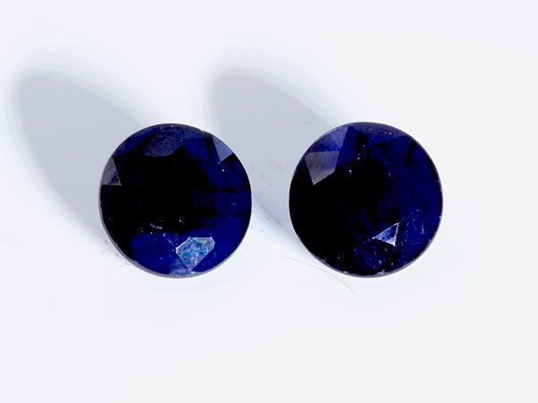 17 ct & up Blue Sapphire Round Shaped ctw 17.03 2Pcs