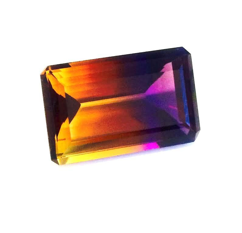 80.50 ct  & up AMETRINE RADIANT Bi Color Quartz
