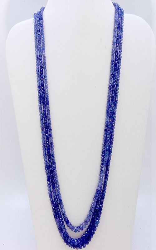 Tanzanite Beaded Necklace 260.00 ct & up 3 Rows