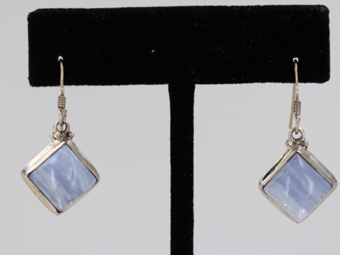 Sterling Silver .925 Vintage Blue Gem Stone Earrings