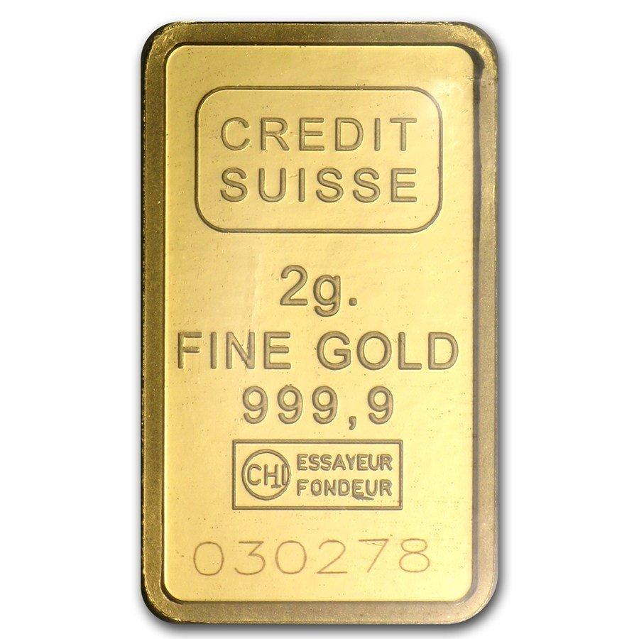 2 gram Statue of Liberty Credit Suisse Gold Bar (In