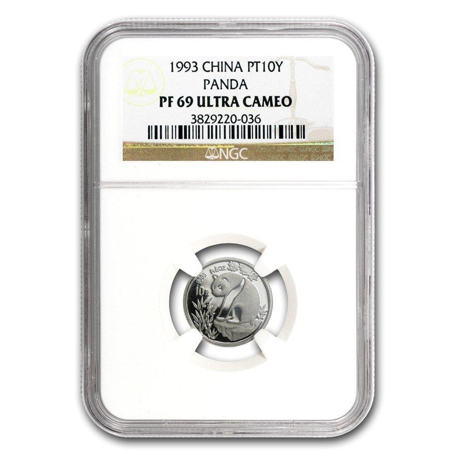 1990 China 3-Coin Platinum Panda Proof Set PF-69 NGC