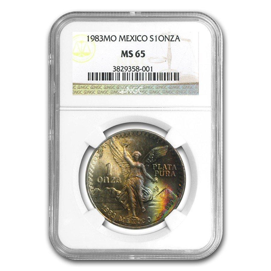 1983 Mexico 1 oz Silver Libertad MS-65 NGC (Toned)