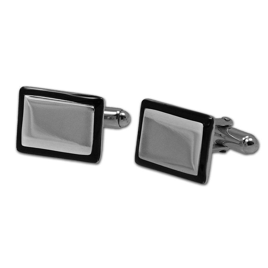 Sterling Silver & Black Enamel Cuff Links (Rectangle)