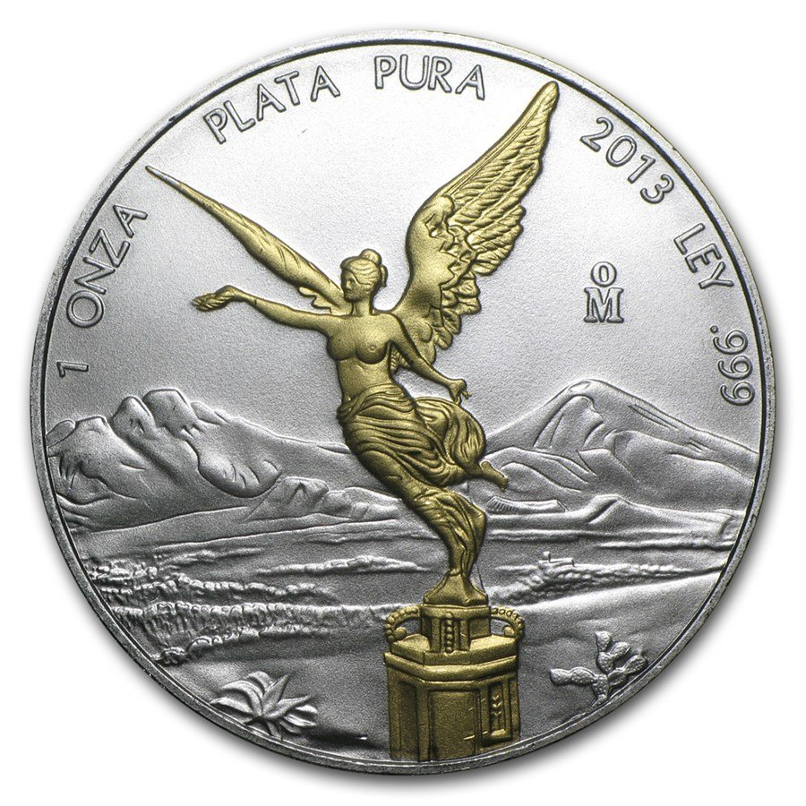 2013 Mexico 1 oz Silver Libertad (Gilded)