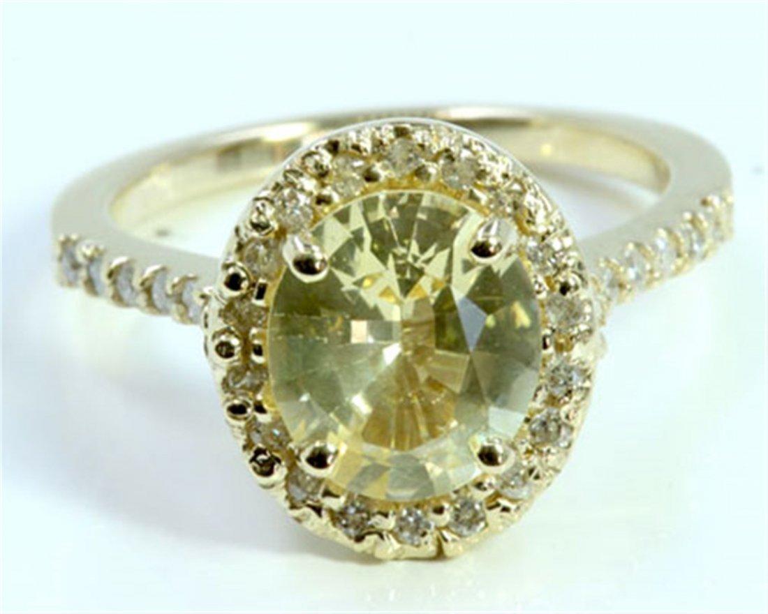 Natural Yellow Ceylon  Sapphire 2.11ct  / Diamond
