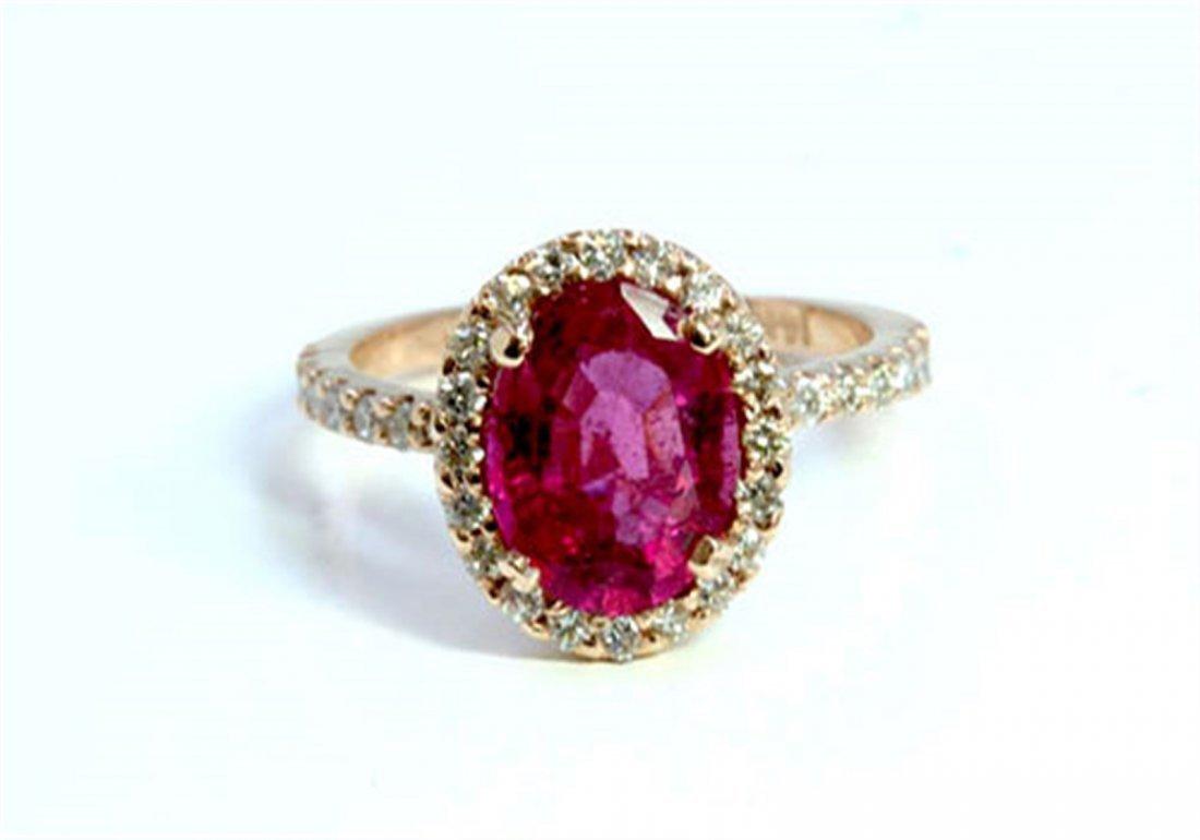 Natural Pink Tourmaline 2.21ct / Diamond 0.51ct / 14K