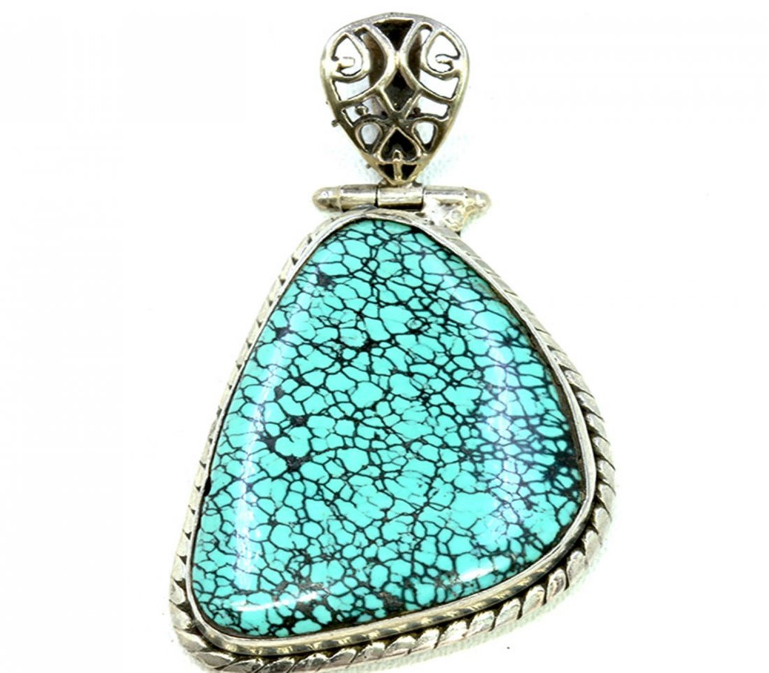 Sterling Silver .925 Turquoise Pendant 25x45mm