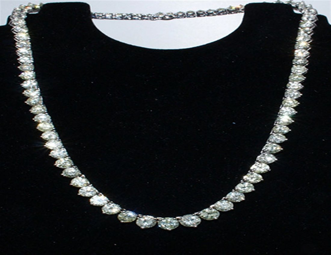 Diamond Tennis Necklace 14k White Gold, over 39.88 ctw