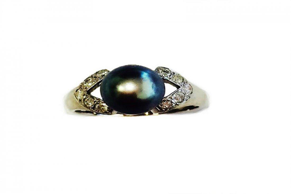 Diamond 0.30 ct & Akoya Pearl BP8mm 14WG Ring