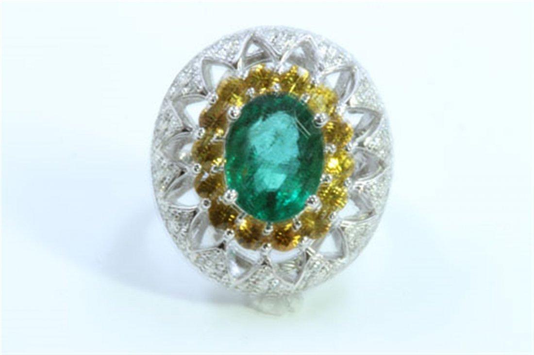 Natural Emerald 3.64ct   Yellow sapphire 1.55ct