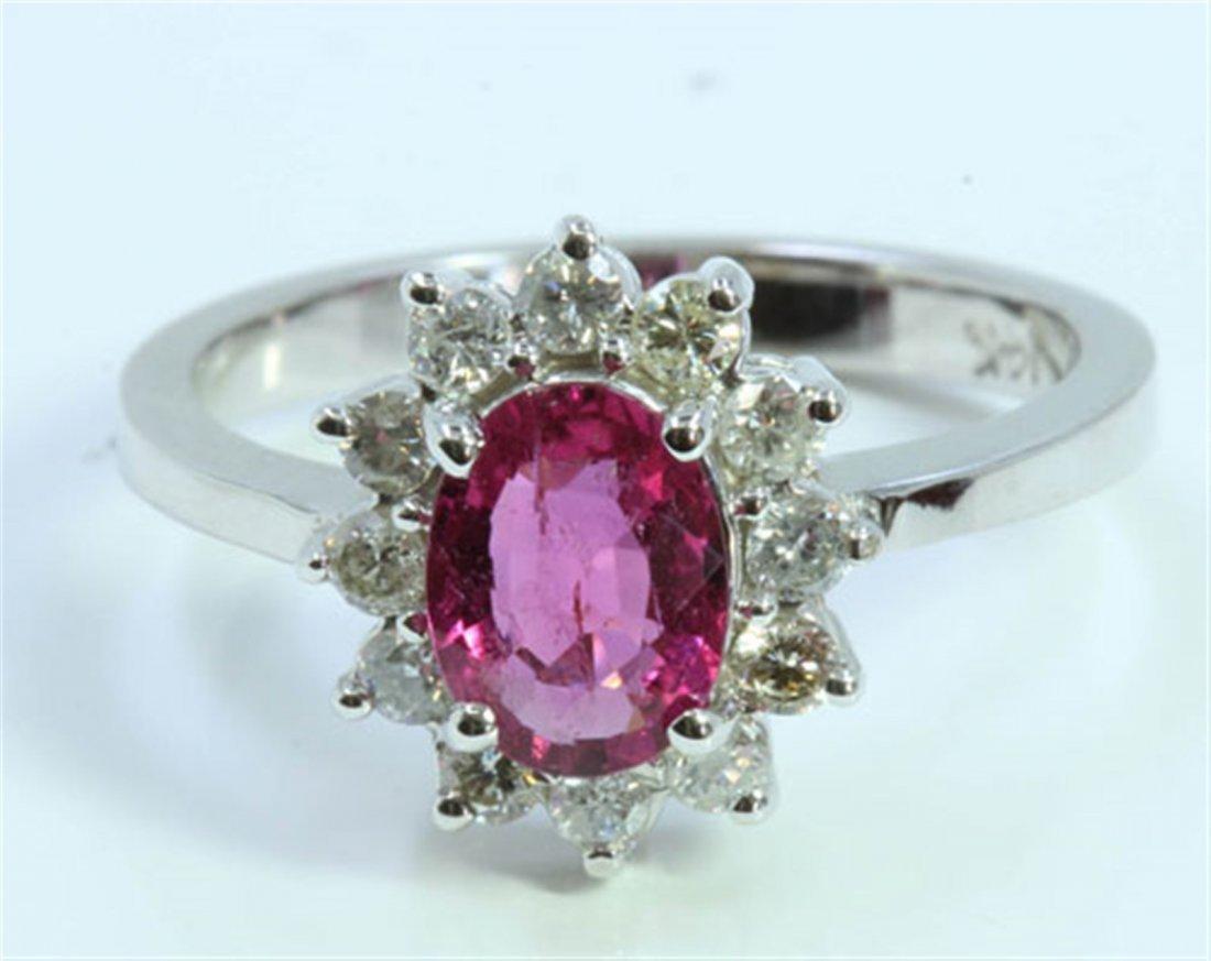 Natural Pink Tourmaline 0.96ct / Diamond 0.24ct / 14K
